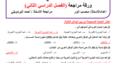 Photo of أوراق عمل مراجعة دراسات اجتماعية صف تاسع فصل ثاني
