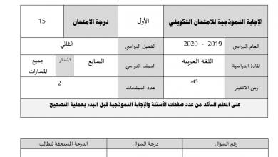 Photo of امتحان تكويني لغة عربية 2020 صف سابع فصل ثاني