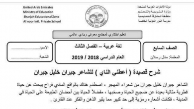 Photo of شرح قصيدة أعطني الناي لغة عربية صف سابع فصل ثاني