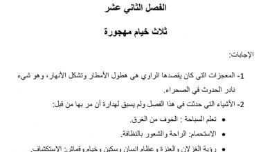 Photo of حل الفصل الثاني عشر ثلاث خيام مهجورة (الولد الذي عاش مع النعام)