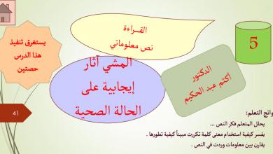 Photo of حل درس المشي آثار ايجابية على الحالة الصحية لغة عربية صف حادي عشر فصل ثالث
