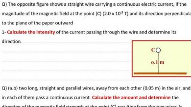 Photo of اسئلة وحدة المجال المغناطيسي للشحنات المتحركة فيزياء صف ثاني عشر متقدم فصل ثالث