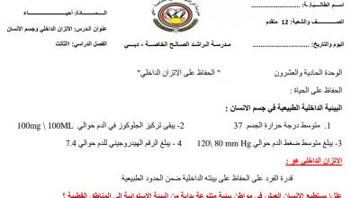 Photo of ملخص الاتزان الداخلي وجسم الإنسان أحياء صف عاشر عام فصل ثالث