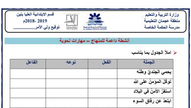 Photo of ورقة عمل الجملة الفعلية لغة عربية صف ثالث فصل ثالث