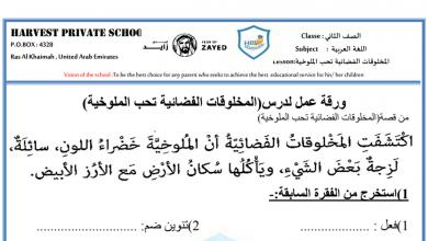 Photo of ورقة عمل درس المخلوقات الفضائية تحب الملوخية لغة عربية صف ثاني