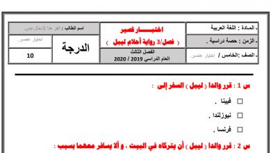 Photo of أوراق عمل الفصل الثالث من رواية أحلام ليبل السعيدة لغة عربية صف سادس