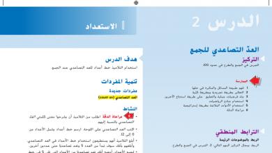 Photo of حل درس العد التصاعدي للجمع رياضيات صف ثاني فصل أول
