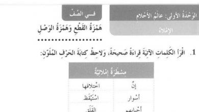 Photo of حل درس همزة القطع وهمزة الوصل وحدة عالم الأحلام لغة عربية صف ثالث فصل أول