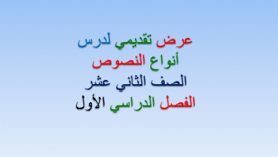 Photo of حل درس أنواع النصوص لغة عربية صف ثاني عشر فصل أول