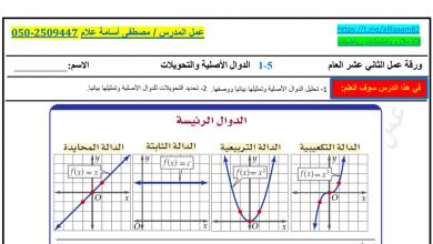 Photo of ورق عمل الدوال الأصلية والتحويلات رياضيات صف ثاني عشر عام
