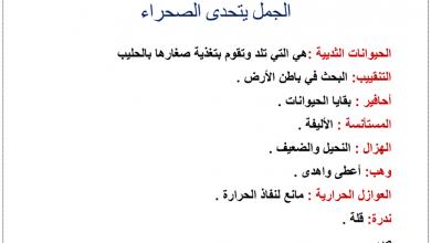 Photo of أوراق عمل درس الجمل يتحدى الصحراء لغة عربية صف رابع فصل أول