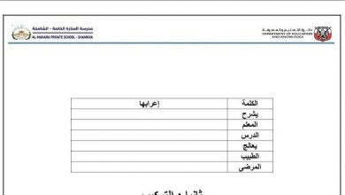 Photo of ورقة عمل الجملة والتركيب لغة عربية صف سادس فصل أول