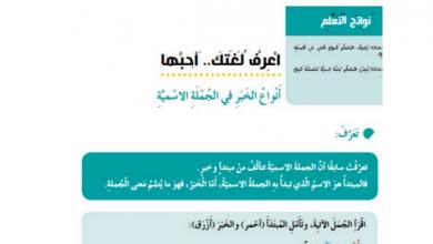 Photo of حل درس أنواع الخبر لغة عربية صف خامس فصل أول
