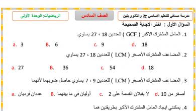 Photo of أوراق عمل الوحدة الأولى رياضيات صف سادس فصل أول