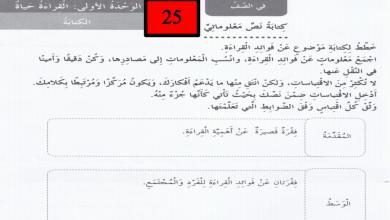 Photo of حل ثاني لدرس كتابة نص معلوماتي لغة عربية صف خامس فصل أول