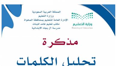 Photo of مذكرة لغة عربية لتحليل الكلمات صف أول
