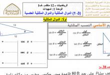 Photo of أوراق عمل الدوال المثلثية والدوال المثلثية العكسية رياضيات صف ثاني عشر متقدم فصل أول