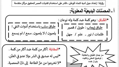Photo of شرح وأوراق عمل علم البديع لغة عربية صف ثاني عشر فصل أول
