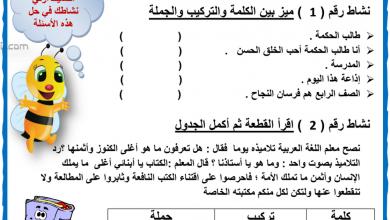 Photo of ورق عمل درس التركيب والجملة لغة عربية صف رابع فصل أول